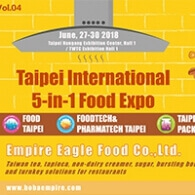 Empire Eagle Food is published on 2018 Food Taipei column, it means public know us more and award recognition our effort!    We will push ourselves moving on and BRING YOU BUBBLE TEA EMPIRE in your country!